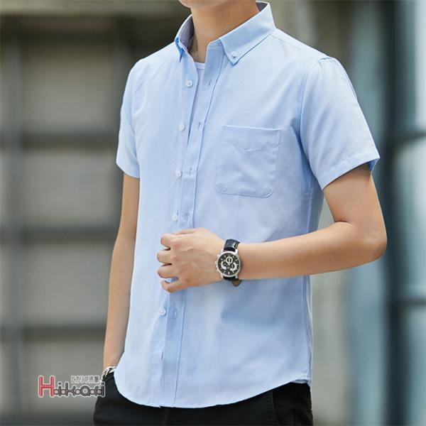 半袖シャツ メンズ ワイシャツ カジュアルシャツ 開襟シャツ 40代 50代 部屋着 無地シャツ 夏服 細身 お兄系 シャツ 夏|otasukemann|16