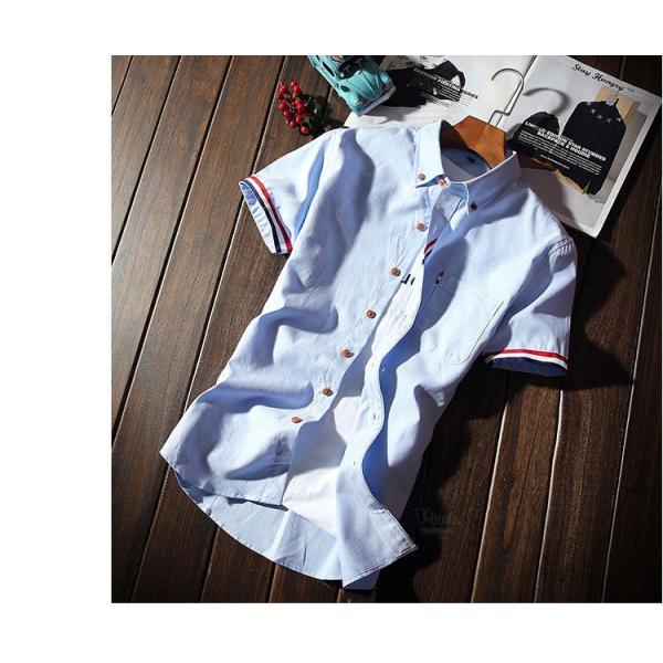 スリムシャツ 半袖シャツ メンズ ボダンダウンシャツ 開襟シャツ トップス カジュアルシャツ トップス 夏服 サマー 部屋着|otasukemann|19
