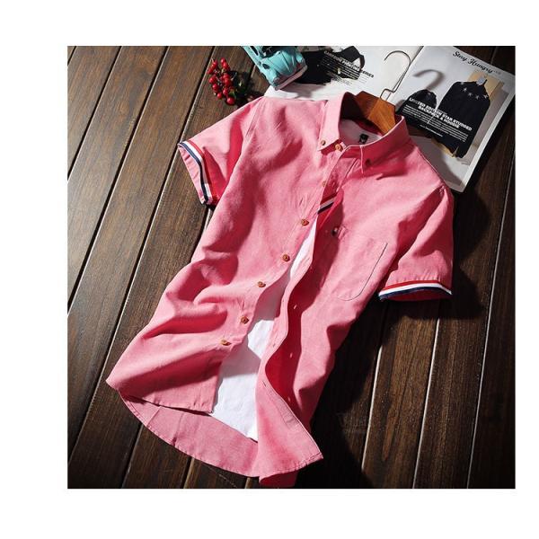 スリムシャツ 半袖シャツ メンズ ボダンダウンシャツ 開襟シャツ トップス カジュアルシャツ トップス 夏服 サマー 部屋着|otasukemann|21