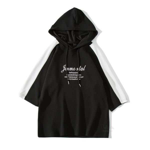 パーカー メンズ 半袖 カジュアル プルオーバーパーカー フード付き 五分袖 半袖パーカー Tシャツ スリム おしゃれ 2019 夏新作|otasukemann|24