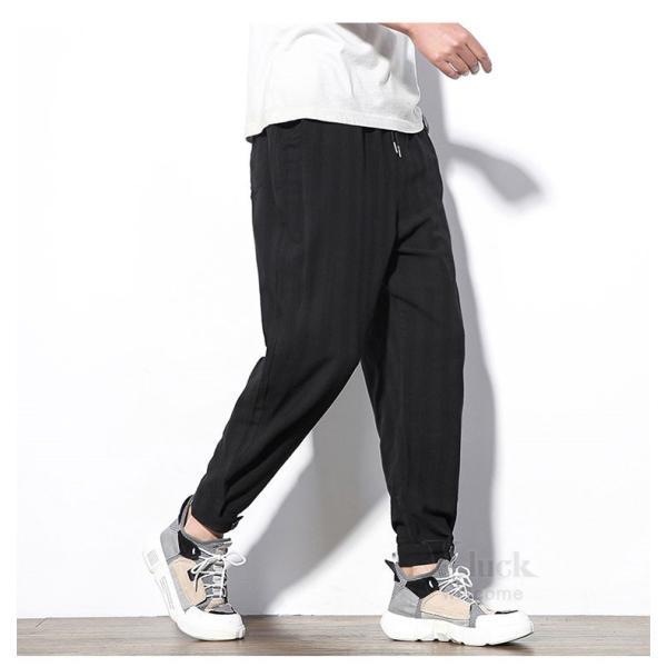 テーパードパンツ メンズ サルエルパンツ アンクルパンツ ズボン カジュアル リネンパンツ 綿麻 夏|otasukemann|23