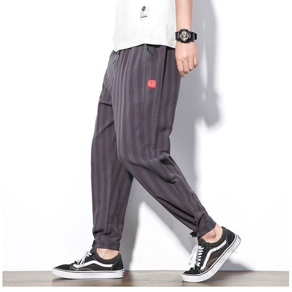 テーパードパンツ メンズ サルエルパンツ アンクルパンツ ズボン カジュアル リネンパンツ 綿麻 夏|otasukemann|22