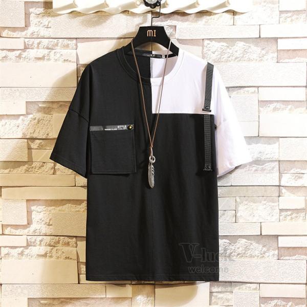 Tシャツ メンズ 半袖 トップス 切り替え カットソー ティーシャツ 半袖Tシャツ カジュアル おしゃれ 夏新作|otasukemann|15
