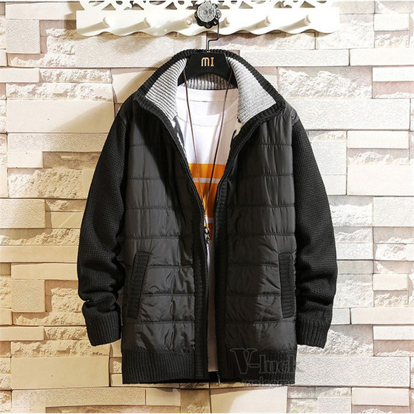 中綿ジャケット メンズ ジャケット アウター ダウン風 ブルゾン 切り替え 立ち襟 裏起毛 秋冬 送料無料|otasukemann|24
