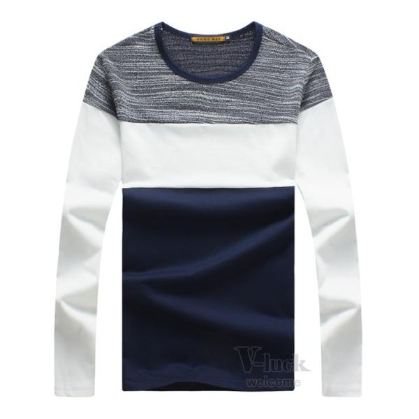 Tシャツ メンズ 長袖 ロンT カジュアル クルーネック ロングTシャツ 切り替え ストレッチ トップス 薄手 春秋|otasukemann|15