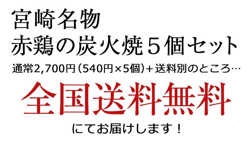 宮崎名物 赤どり炭火焼5個セット 全国送料無料 にてお届けします!