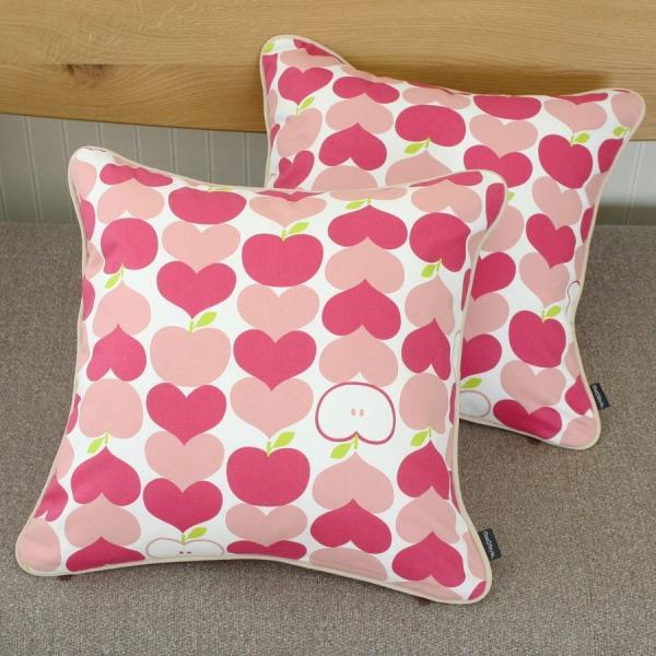 クッションカバー 45x45  北欧 おしゃれ かわいい 日本製 綿プリント チェック 幾何 フラッグ ハートリンゴ 花 ケイト コルネ メリダ outstylepro 18