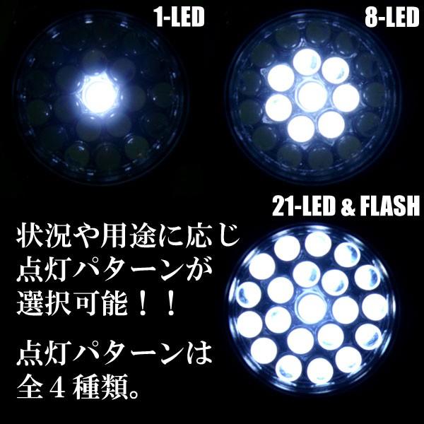 スイッチを押す毎に、1灯→8灯→21灯→点滅→OFFとなります。