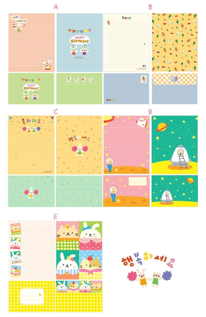 韓国イラストtotoの かわいい レターセット 韓国雑貨 韓国文具 ギフト