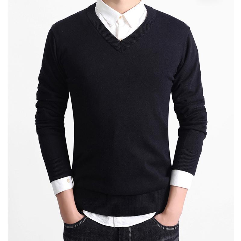 セーター Vネック メンズ スクール ビジネス コットン100% ニットセーター 長袖 無地 吸水吸湿 制服 黒 グレー ネイビー プレゼント ギフト バレンタイン  |b01|pandafamily|16