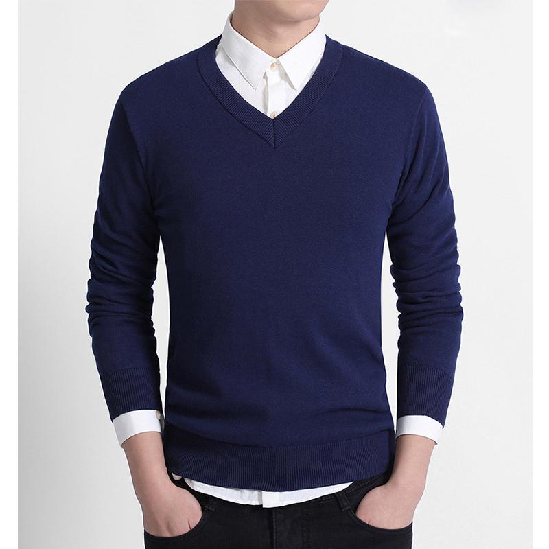 セーター Vネック メンズ スクール ビジネス コットン100% ニットセーター 長袖 無地 吸水吸湿 制服 黒 グレー ネイビー プレゼント ギフト バレンタイン  |b01|pandafamily|13