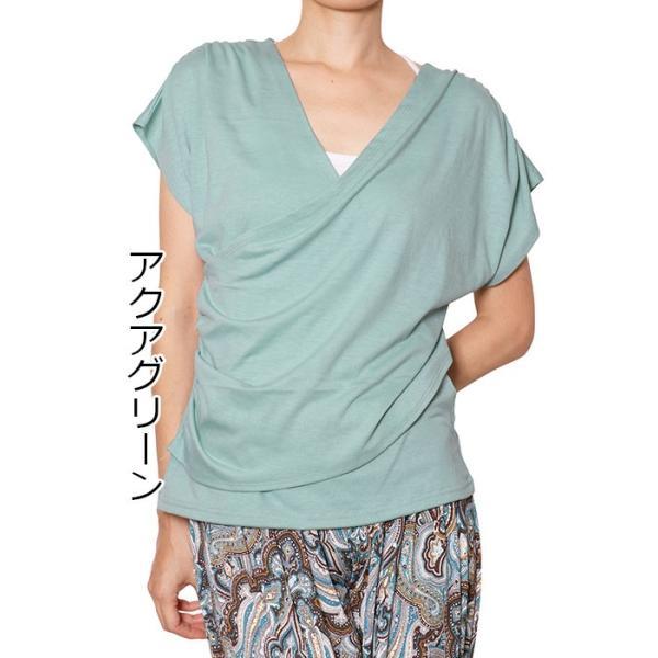 ヨガウエア レディス  ヨガウェア かわいい ヨガトップス カシュクール Tシャツ カットソー チュニック 無地|panetone|23