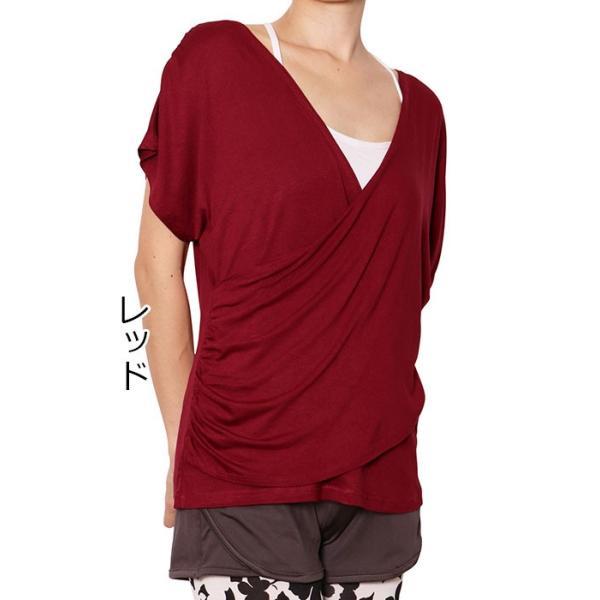 ヨガウエア レディス  ヨガウェア かわいい ヨガトップス カシュクール Tシャツ カットソー チュニック 無地|panetone|18