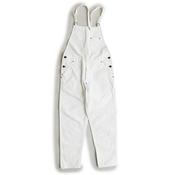 サロペット パンツ ホワイト デニム 綿100% ノンストレッチ ワーク 日本製 レディース Johnbull paty 08