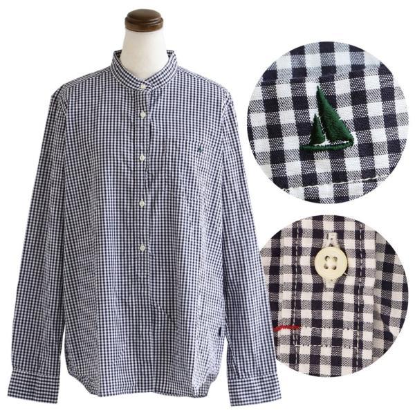 シャツ 日本製 長袖  バンドカラー ギンガムチェック柄 フェイク プルオーバー  ギンガムチェックシャツ paty 16