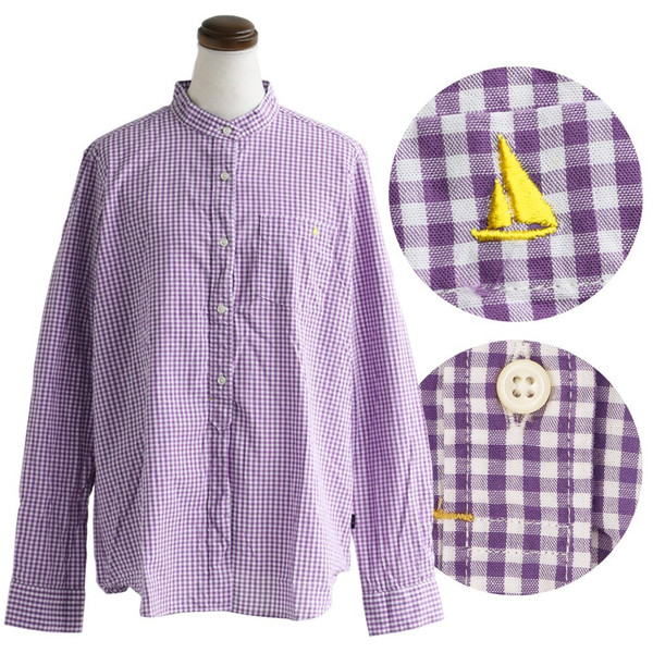 シャツ 日本製 長袖  バンドカラー ギンガムチェック柄 フェイク プルオーバー  ギンガムチェックシャツ paty 17