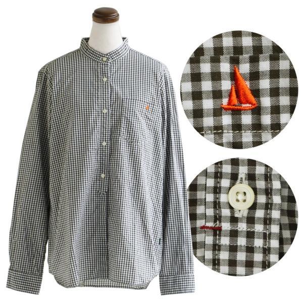 シャツ 日本製 長袖  バンドカラー ギンガムチェック柄 フェイク プルオーバー  ギンガムチェックシャツ paty 18