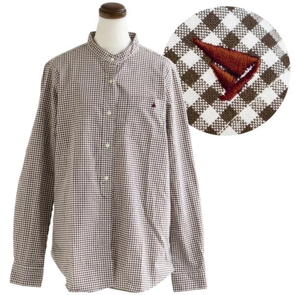 シャツ 日本製 長袖  バンドカラー ギンガムチェック柄 フェイク プルオーバー  ギンガムチェックシャツ paty 19