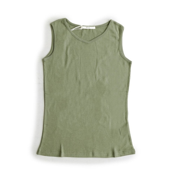 タンクトップ タンク 胸元 見えない カバーネック 綿100% 無地 ボーダー柄 レディース Souple paty 29