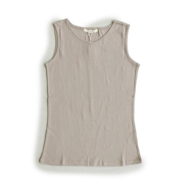 タンクトップ タンク 胸元 見えない カバーネック 綿100% 無地 ボーダー柄 レディース Souple paty 31