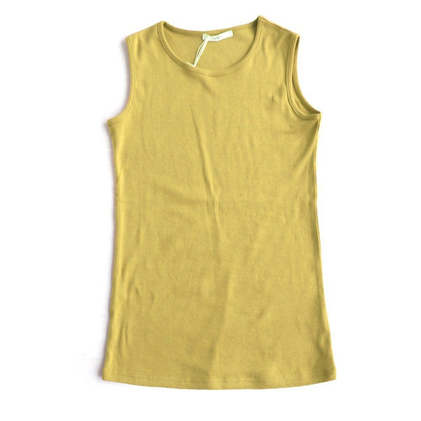 タンクトップ ロング丈 「胸元 が 見えない カバーネック」 綿100% レディース Souple paty 25