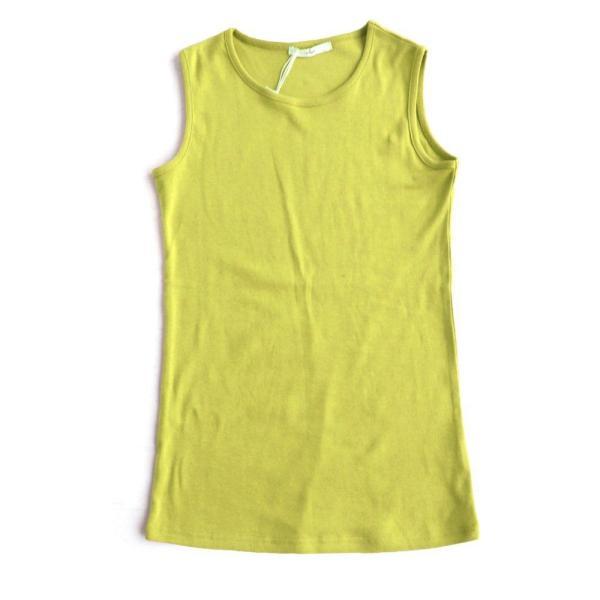 タンクトップ ロング丈 「胸元 が 見えない カバーネック」 綿100% レディース Souple paty 32
