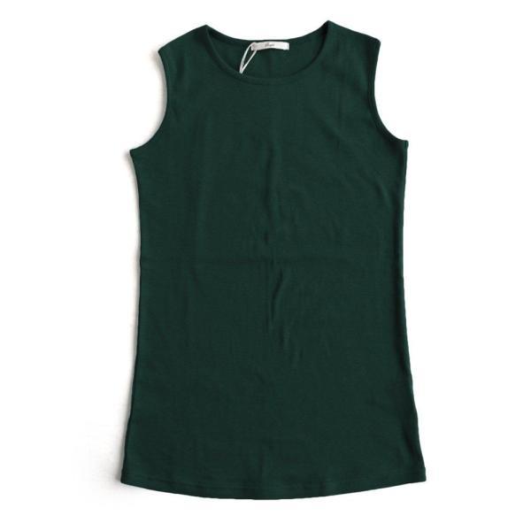 タンクトップ ロング丈 「胸元 が 見えない カバーネック」 綿100% レディース Souple paty 33