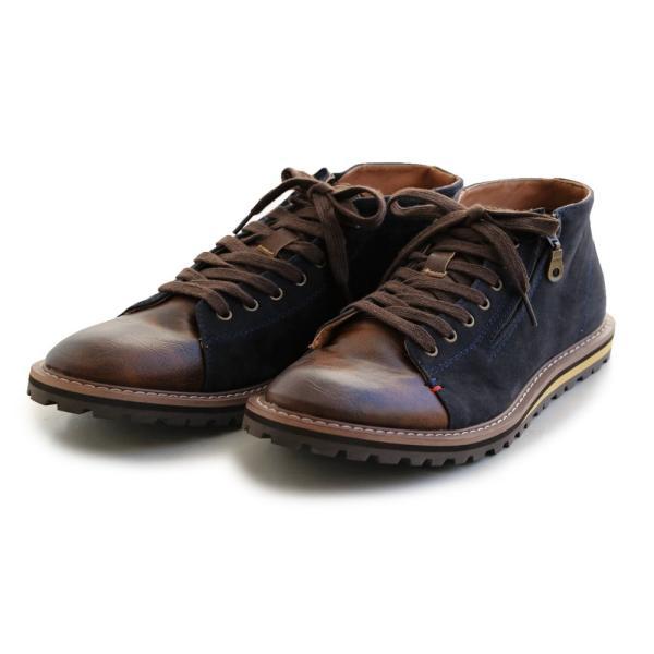 【A-冬靴】【予約販売】ミドルカット ブーツ PUレザー × PUスウェード 配色 切り替え サイドジップ ネイビー 40代 50代|paty|11