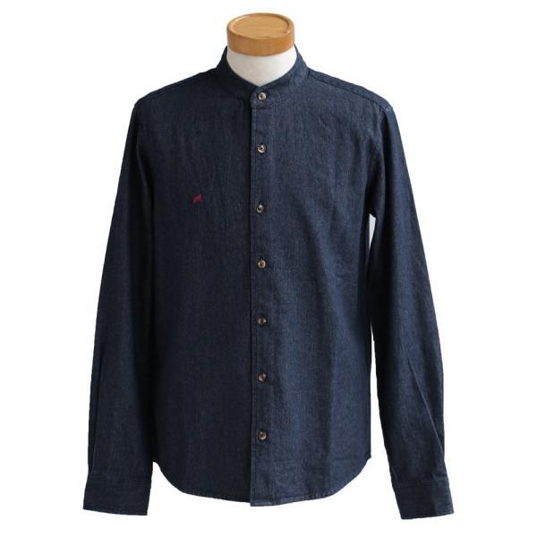 シャツ 長袖 バンドカラー デニムシャツ ユーズド加工 配色 刺繍 綿100% (アリステア) ALISTAIR 40代 50代|paty|21