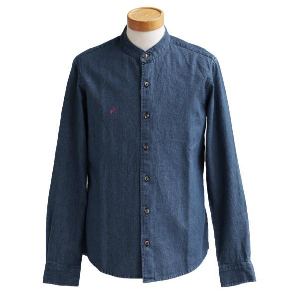 シャツ 長袖 バンドカラー デニムシャツ ユーズド加工 配色 刺繍 綿100% (アリステア) ALISTAIR 40代 50代|paty|22