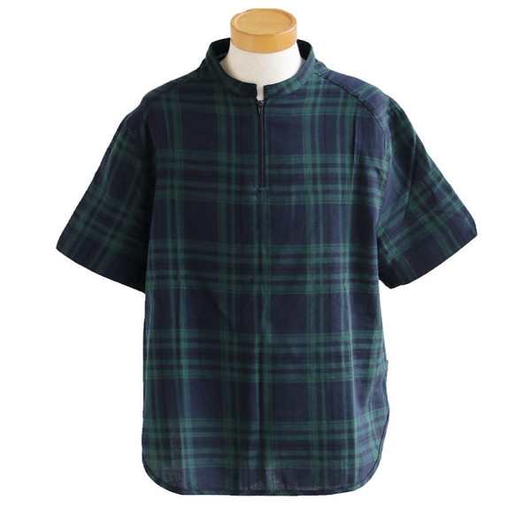 シャツ プルオーバー 半袖 ネック ハーフジップ付き コットン100% 綿100% ブラックウォッチ (セイル) SAIL  レディース メンズ|paty|18