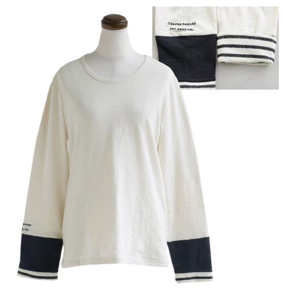 長袖 カットソー 「袖口 袖裏 刺繍 ボーダー 切り替え 袖切り替え」 スラブ天竺 薄手 綿100% 春 40代 50代|paty|21