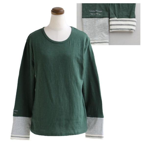 長袖 カットソー 「袖口 袖裏 刺繍 ボーダー 切り替え 袖切り替え」 スラブ天竺 薄手 綿100% 春 40代 50代|paty|23