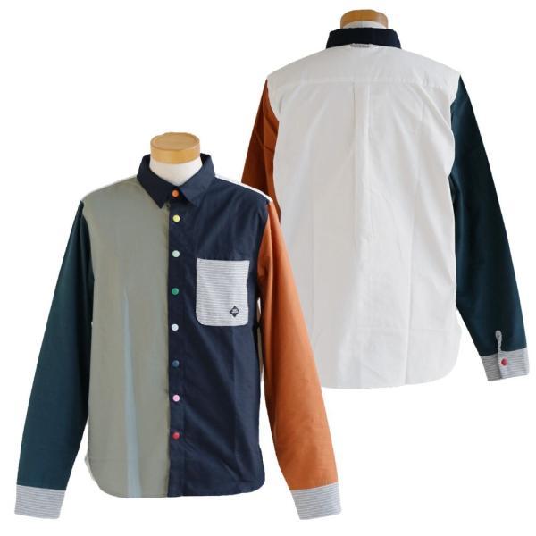 シャツ 長袖 スナップボタン バンドカラー レギュラーカラー 2WAY ポケット切り替え(ジムマスター) gymmaster 40代 50代|paty|12