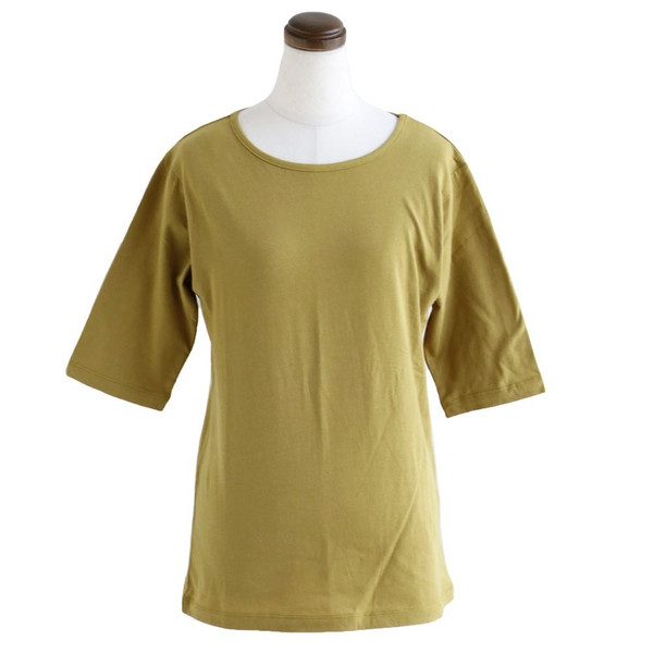 カットソー 五分袖 ロング丈 「胸元 が 見えない カバー Uネック」 綿100% Souple レディース|paty|10