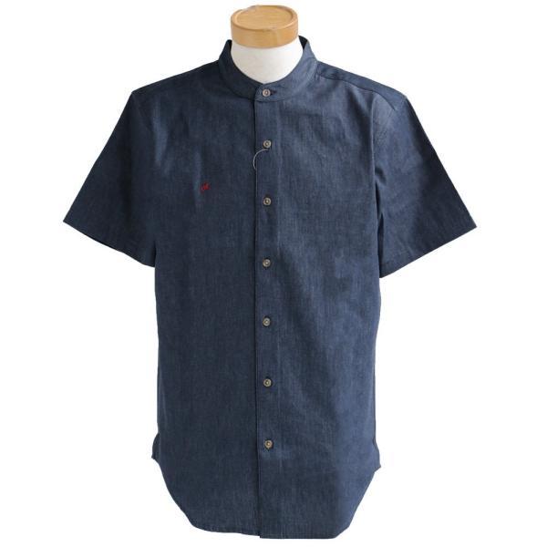 シャツ 半袖 春夏 バンドカラー デニム 配色 ワンポイント 星 スター 刺繍 綿100% メンズ レディース ALISTAIR|paty|08