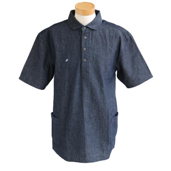 シャツ 半袖 丸襟 プルオーバー デニム 配色 ワンポイント 刺繍 綿100% メンズ レディース ALISTAIR 春 夏 40代 50代|paty|09