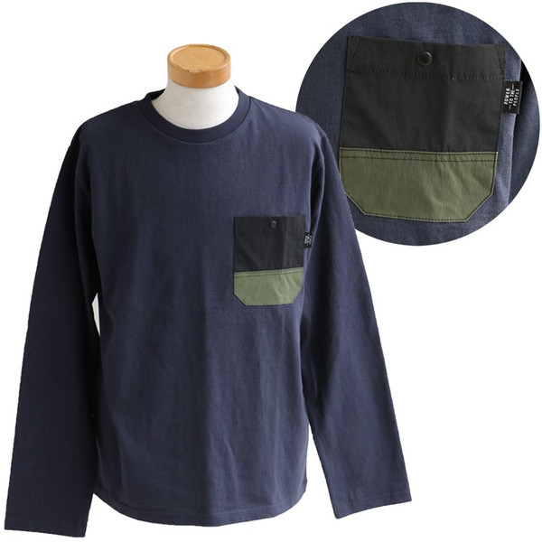 Tシャツ TEE クルーネック ムービング ポケット ストレッチ 無地 長袖 ナイロン コットン カジュアル メンズ レディース POWER TO THE PEOPLE|paty|18