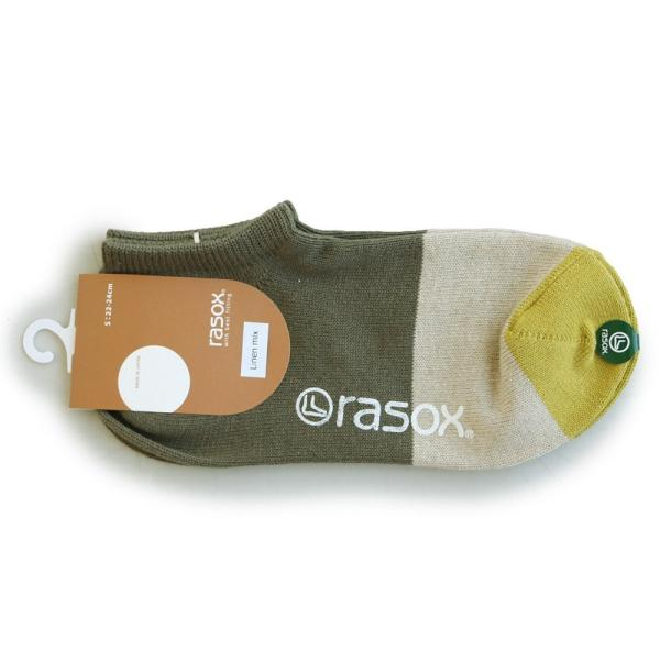 スニーカーソックス ソックス くるぶし丈 靴下 配色切替 コットン リネン 日本製 夏 メンズ レディース rasox paty 15