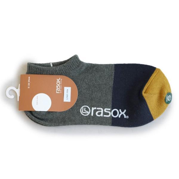 スニーカーソックス ソックス くるぶし丈 靴下 配色切替 コットン リネン 日本製 夏 メンズ レディース rasox paty 17