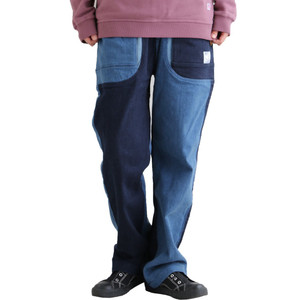 パンツ デニム テーパード ガーデンパンツ ストレッチ 伸縮 ビッグポケット 体型カバー メンズ レディース  grn|PATY