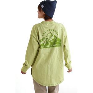 Tシャツ 長袖 ロンT クルーネック バック プリント ラグラン 抗菌 裾ラウンド 脇スリット レディース  KRIFF MAYER|PATY