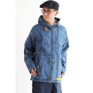 ジャケット パーカー ワークパーカー ハイネック フード Wジップ ダブルジップ プリント 綿 コットン ペイズリー 柄 メンズ レディース  grn|PATY