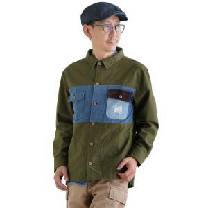 シャツ 長袖 フロント 配色 パネル切り替え 胸ポケット アクセント 裾サイド スリット 綿100% メンズ レディース  grn|PATY