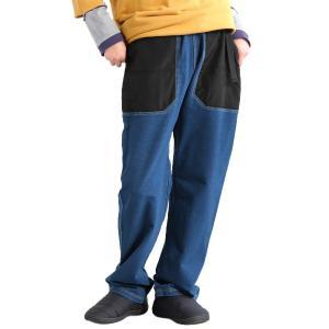 パンツ テーパード クライミング風 深股上  インディゴ スウェット 裏毛 × ナイロン 異素材 切り替え ガーデニングポケット メンズ レディース  grn|PATY