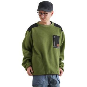 トレーナー 長袖 クルーネック プルオーバー 異素材 切り替え ロクヨン フリース 両面 胸ポケット メンズ レディース  grn|PATY