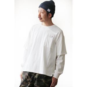 Tシャツ 長袖 ビッグシルエット 『同色 Tシャツ × ロンT フェイク レイヤード』 刺繍 米綿 天竺 メンズ レディース  GRN×TOneontoNE|PATY