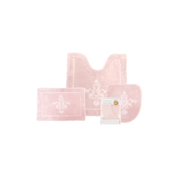 福袋 トイレマット 4点セット 送料無料  洗面マット フタカバー 安い お得 おしゃれ 高級 オーナメント柄 アラベスク 洗える ピンク ホワイト お得 pbh-shop 20