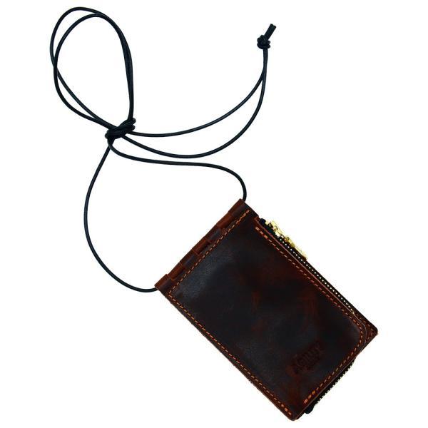 【ネコポス】ネックポーチ 小銭入れ 本革 レザー IDケース 財布 二つ折り パスケース 首掛け AGILITY affa アジリティアッファ フィユテ[M便 3/3]|pdd|24