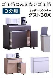 キッチンカウンター 98 ダストボックス 3分別 収納 ゴミ箱 完成品 おしゃれ
